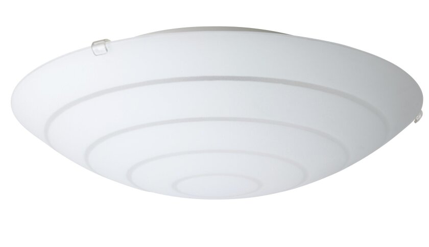 This image provided by IKEA on Tuesday Feb. 9, 2016 shows the Hyby ceiling lamp. Swedish furniture retailer Ikea is recalling two types of ceiling lamps because of a risk that the glass shades might fall and injure people. (IKEA via AP)