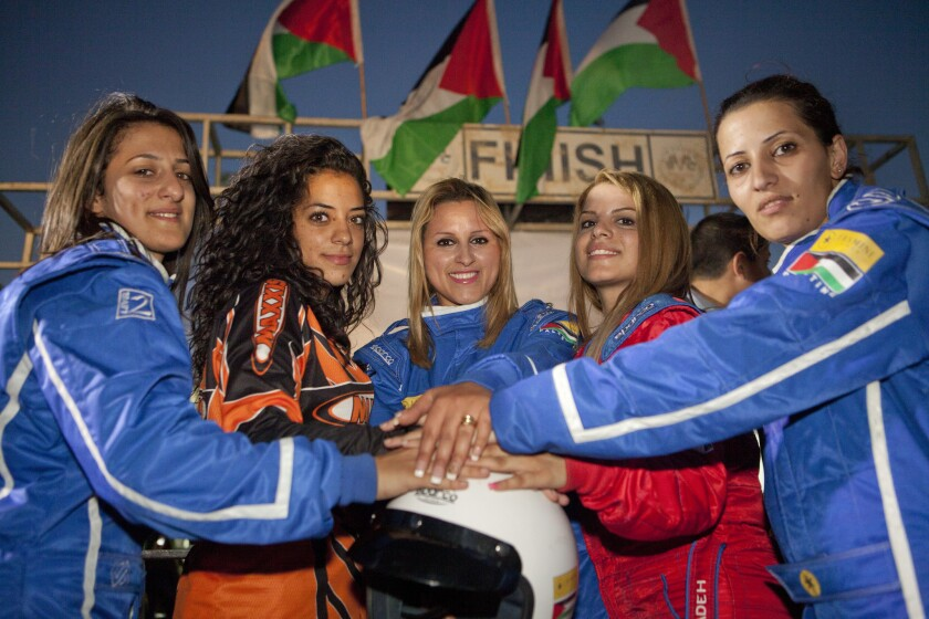 The Speed Sisters of Palestine: Marah, Noor, Maysoon, Betty and Mona.
