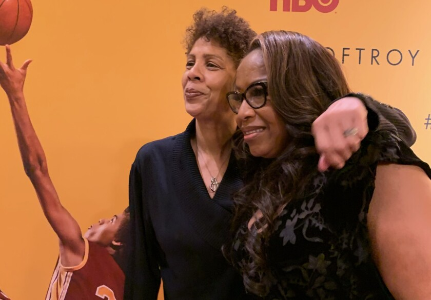 "Former USC basketball stars Cheryl Miller, left, and Cynthia Cooper-Dyke attend the premiere of ""Women of Troy"" at the Ray Stark Family Theater on the USC campus on Wednesday."
