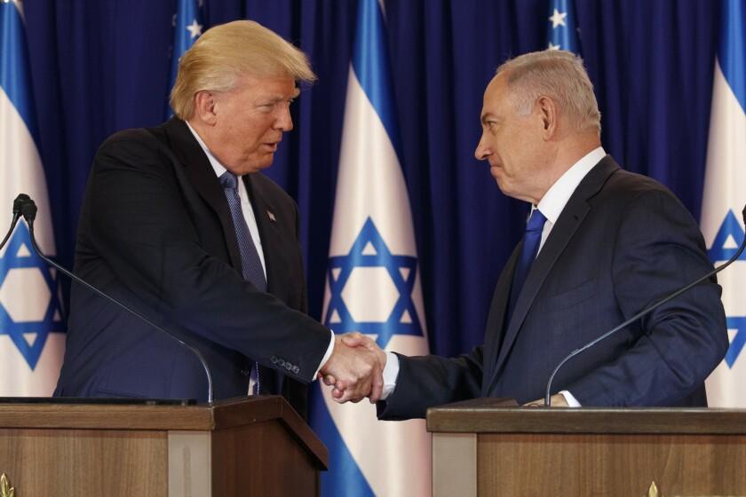 President Trump, left, shakes hands with Israeli Prime Minister Benjamin Netanyahu in Jerusalem in 2017.