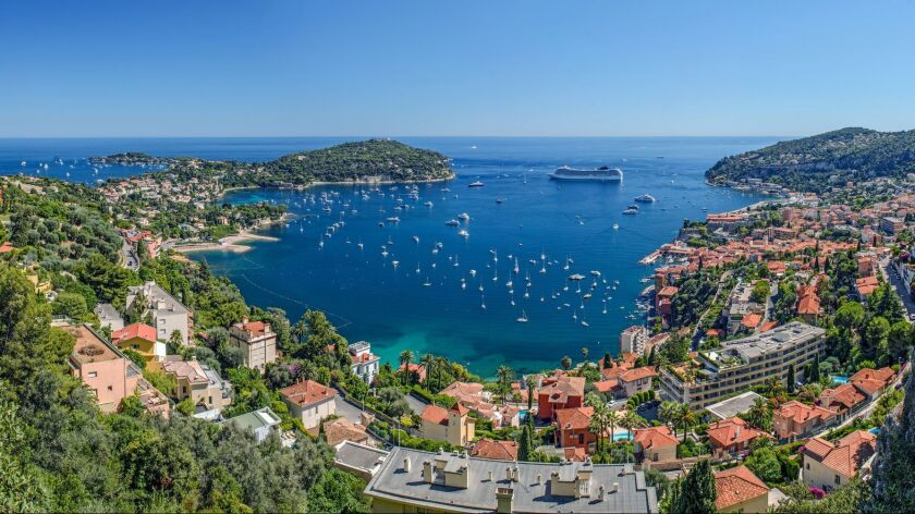 The bay at Villefranche-sur-Mer on France's Cote d'Azur, shot with an ultra-wide-angle lens.
