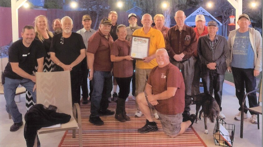 Ramona Outback Amateur Radio Society members accept a county Board of Supervisors proclamation naming May 2021 ROARS month.