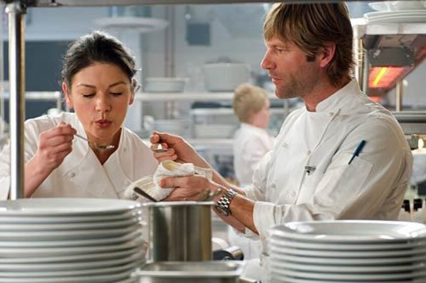 """Catherine Zeta-Jones and Aaron Eckhart are food-obsessed pros in the film """"No Reservations."""""""