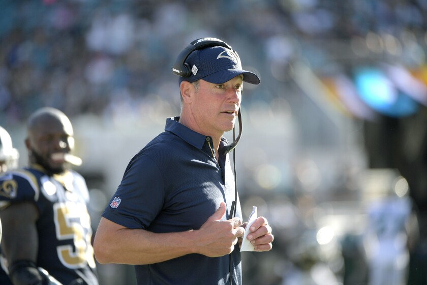 Rams offensive line coach Aaron Kromer works along the sideline during a game.