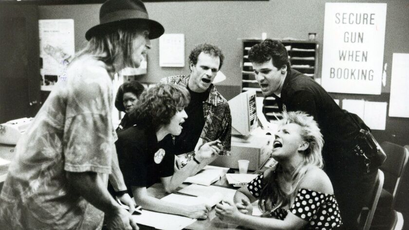 SEPTEMBER 25, 1990 – Three of L.A.'s finest (Center: Lt to Rt), Anne Bobby, Paul McCrane and David G