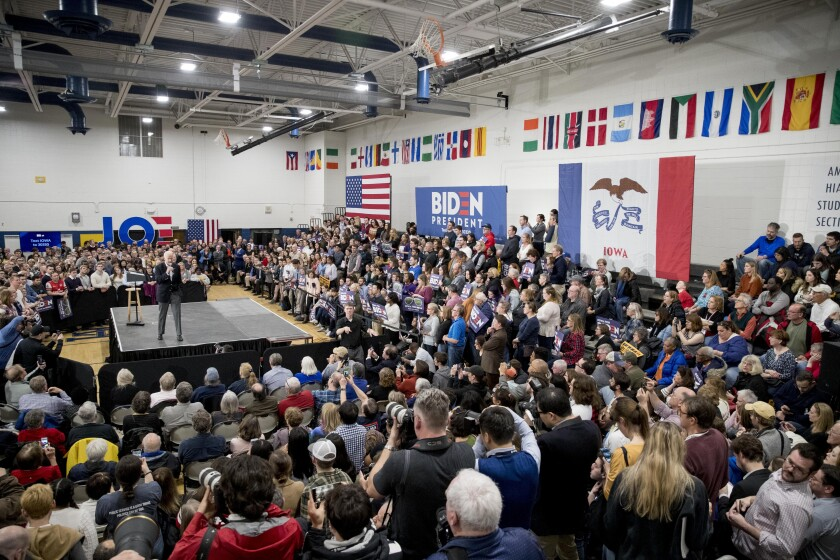 Democratic presidential candidate former Vice President Joe Biden speaks at a campaign stop at Hiatt Middle School, Sunday, Feb. 2, 2020, in Des Moines, Iowa. (AP Photo/Andrew Harnik)