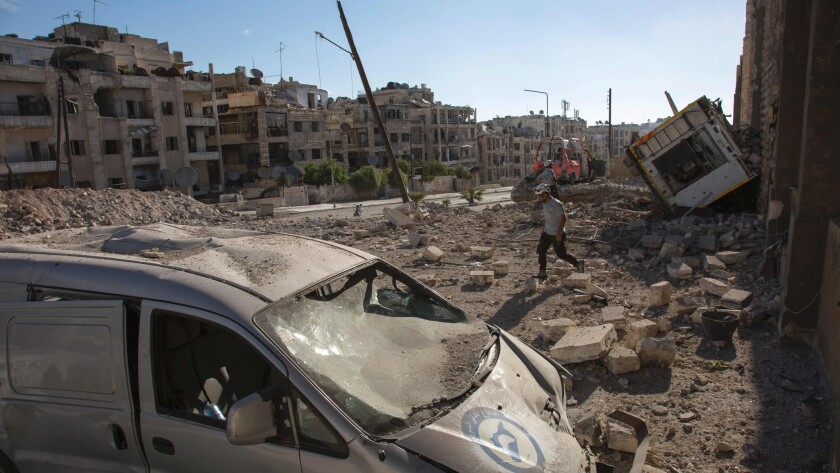 An airstrike leaves destruction in the rebel-held Ansari district of Aleppo, Syria, on Sept. 23.