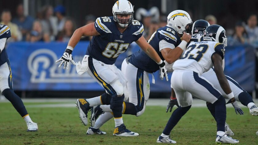 Los Angeles Chargers center Dan Feeney (66) plays against the Los Angeles Rams during the second hal