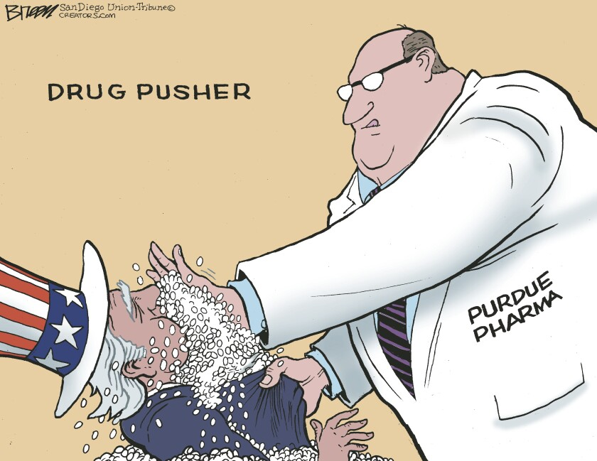In this Breen cartoon, Purdue Pharma literally pushes pills into mouth of Uncle Sam