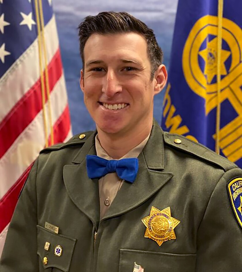 CHP officer Andy Ornelas, 27, was struck while riding his motorcycle on patrol on Nov. 23 in Palmdale.