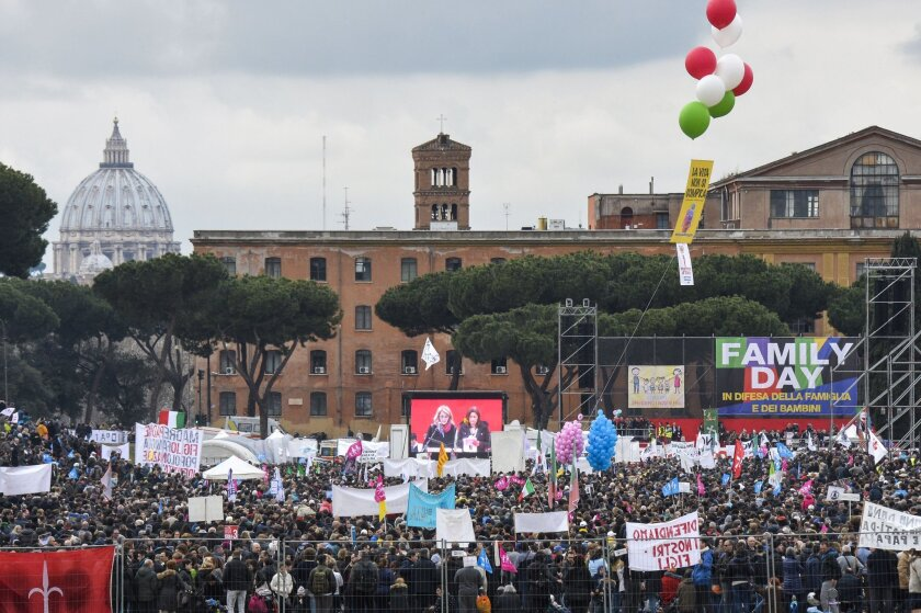 Thousands of people took part in a rally at Rome's ancient Circus Maximus to voice opposition to proposals to legally recognize same-sex civil unions.