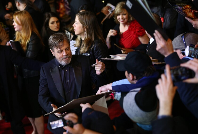 "Actor Mark Hamill attends the European premiere of ""Star Wars: The Force Awakens"" in central London in December. Hamill is supporting a bill authored by Assemblywoman Ling Ling Chang (R-Diamond Bar) to crack down on forged autographs."