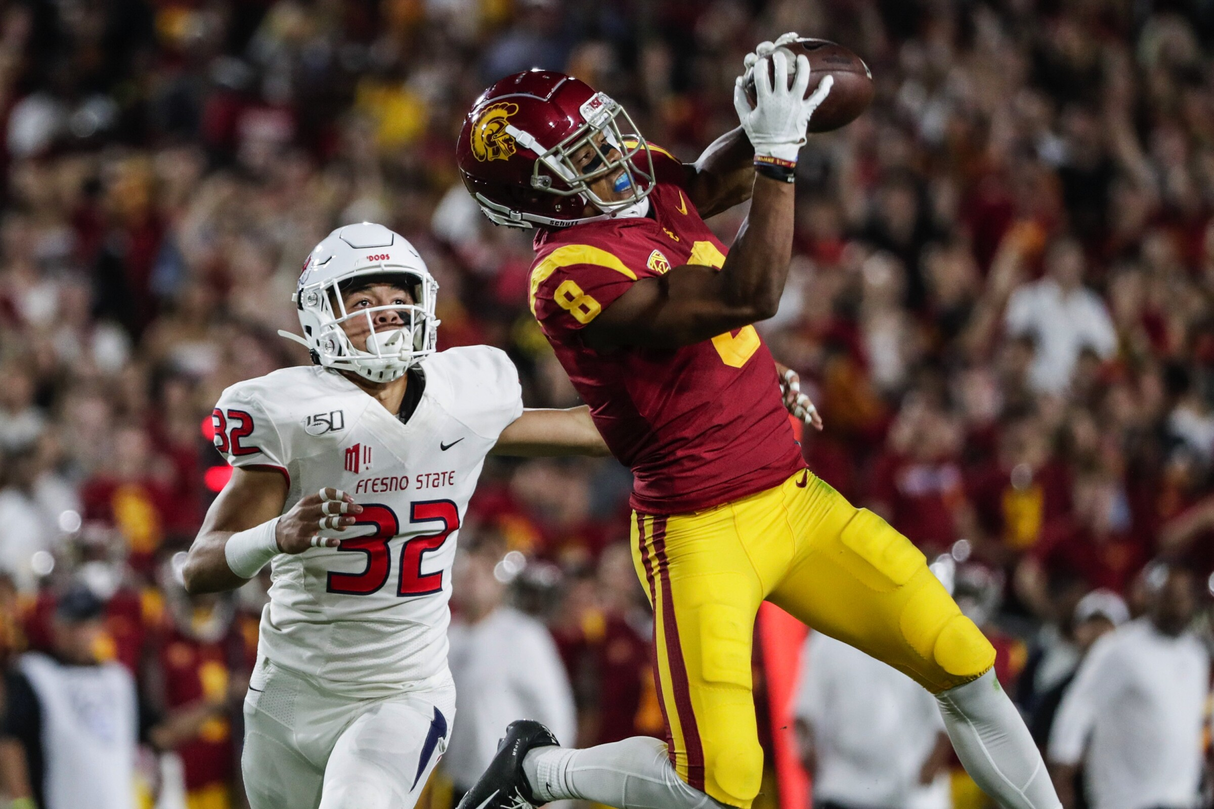 USC wide receiver Amon-ra St. Brown makes a catch against Fresno State in September 2019.