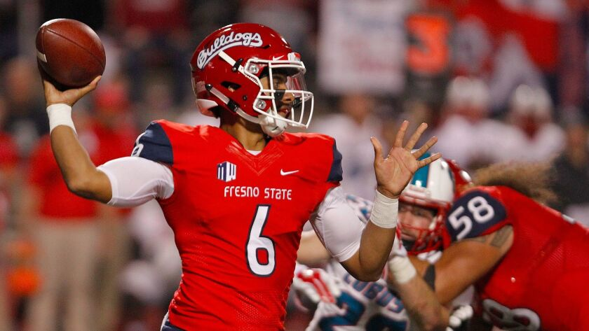 Fresno State's Marcus McMaryion throws a pass during the second half of an NCAA college football game against New Mexico in Fresno, Calif., Saturday, Oct. 14, 2017. Fresno State won 38-0.