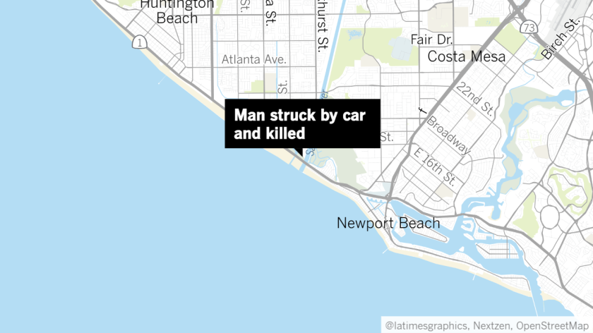 A 79-year-old Santa Ana man was struck by a car and killed in Huntington Beach on Wednesday.