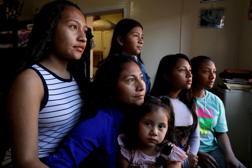 Rubilia Sanchez, second from left, a Guatemalan woman, and her four eldest daughters have been in immigration court, fighting for an opportunity to stay legally in the United States.