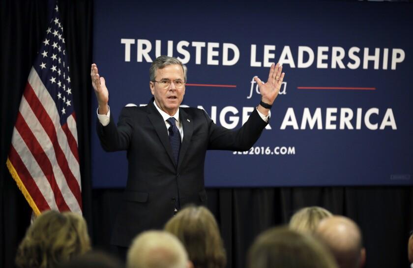 El precandidato presidencial republicano y ex gobernador de Florida Jeb Bush. (Foto AP/Charlie Neibergall)