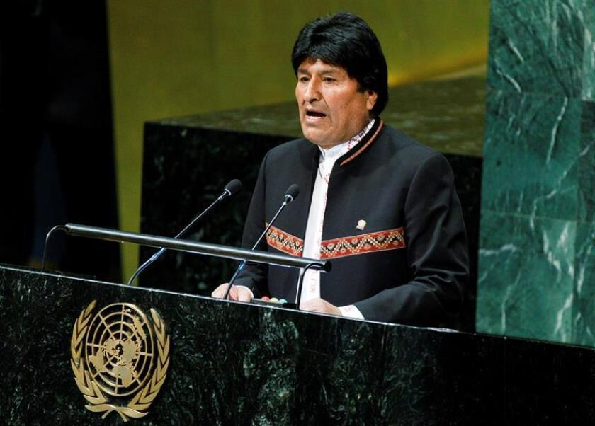 Bolivian President Evo Morales leads this Friday, Feb. 1, 2019, the United Nations opening of the International Year of Indigenous Languages, a project aimed at calling the world's attention to the rapid loss of those languages around the globe. EFE-EPA/Justin Lane