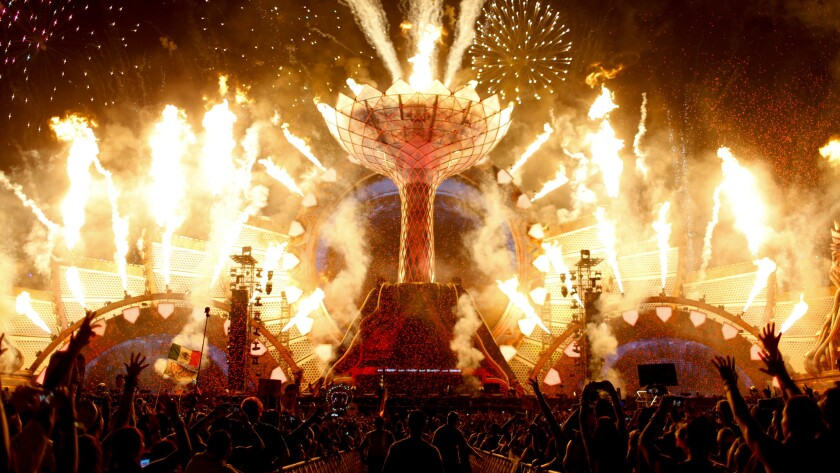 The Electric Daisy Carnival opening ceremony lights up Kinetic Field at the Las Vegas Motor Speedway on Friday.