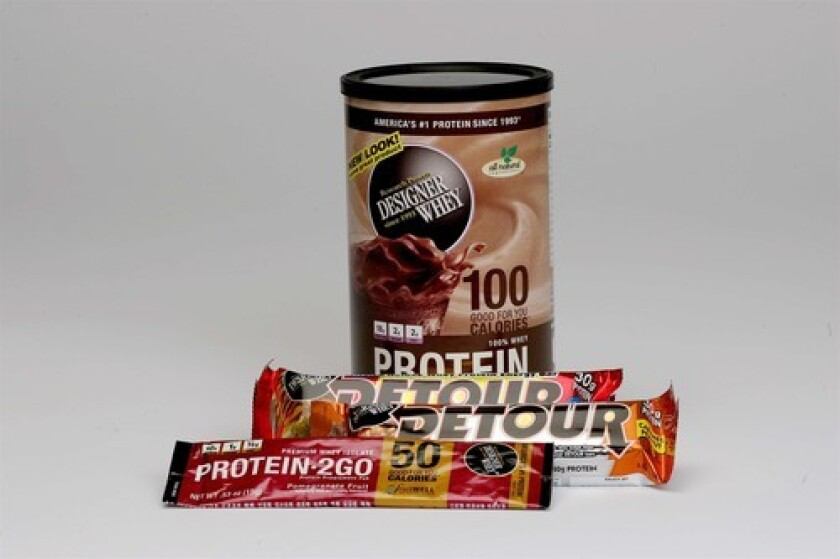 PROTEIN: Products with whey protein made by Designer Whey include powder drink mix, Detour bars and Protein to Go.