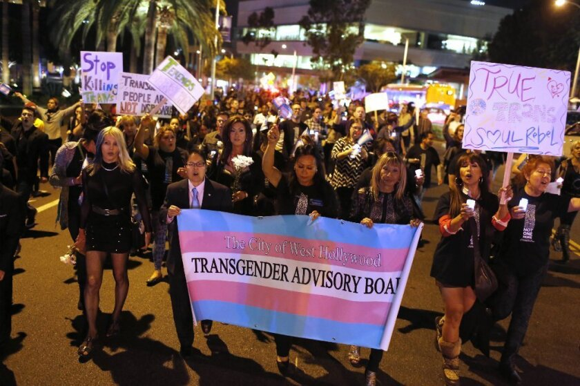 Hundreds participate in a Transgender Day of Remembrance protest on Nov. 20, 2015, in West Hollywood.