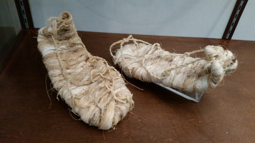 Shoes like the kind worn by members of the Kumeyaay tribe long ago are part of many exhibits at the Sycuan Cultural Resource Center & Museum, which opens Dec. 9.