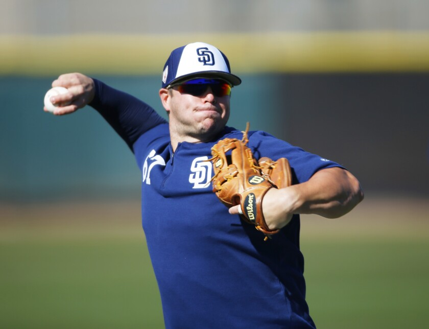 San Diego Padres infielder Ty France makes a throw during a spring training practice on Feb. 20, 2019. (Photo by K.C. Alfred/San Diego Union-Tribune)