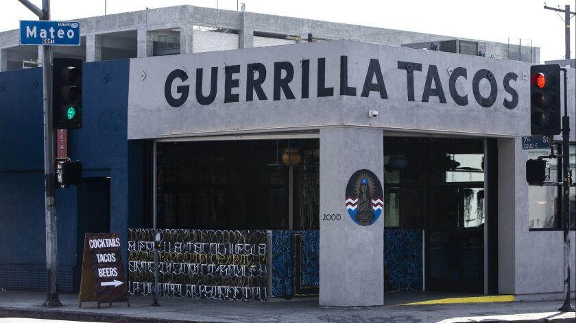 LOS ANGELES, CALIF. - OCTOBER 30: The exterior of Guerrllia Tacos, photographed, on Tuesday, Oct. 30