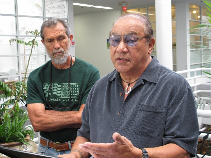 Office of Hawaiian Affairs trustee Peter Apo, right, speaks to reporters in Honolulu on Friday, April 3, 2015, as activist Walter Ritte listens. Apo is calling on the state and the University of Hawaii to adopt a 30-day moratorium on telescope construction at the summit of Mauna Kea, a place Hawaiians consider sacred. (AP Photo/Audrey McAvoy)