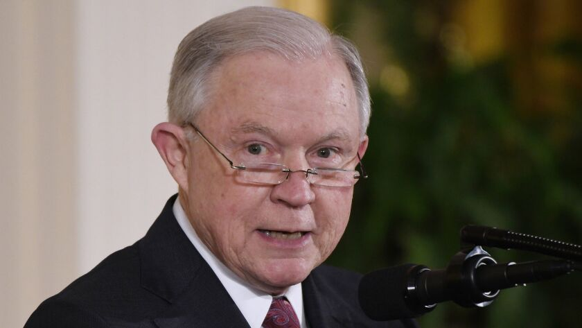 Big on dudgeon, not so good on the law: Atty. Gen. Jeff Sessions