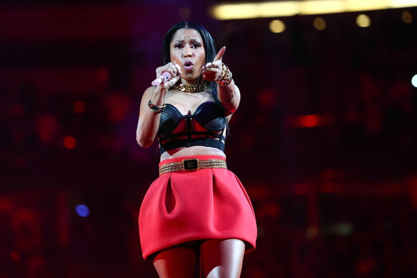 Nicki Minaj, here onstage at Power 106 FM's Powerhouse in Anaheim, Calif., earlier this month, has dropped a new single.