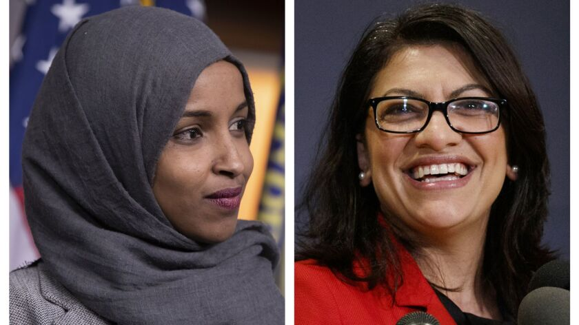 Reps. Ilhan Omar, D-Minn., left, and Rashida Tlaib, D-Mich., in Washington.