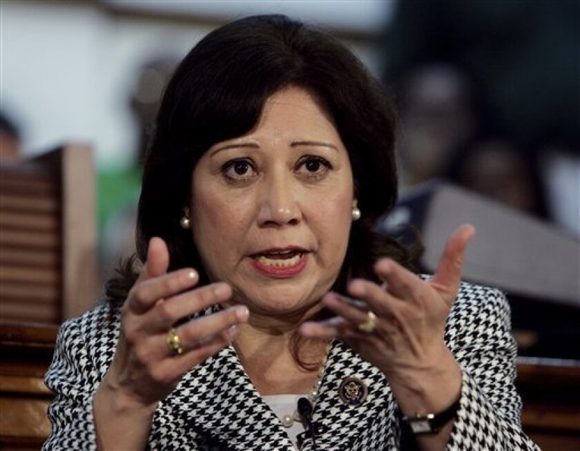 FILE - In this March 2, 2009 file photo, Labor Secretary Hilda Solis speaks during a town hall meeting in Miami. (AP Photo/Wilfredo Lee, File)