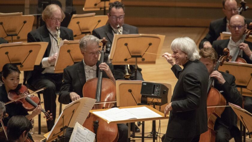 COSTA MESA, CALIF. -- THURSDAY, APRIL 12, 2018: Carl St. Clair conducts The Pacific Symphony in Phi