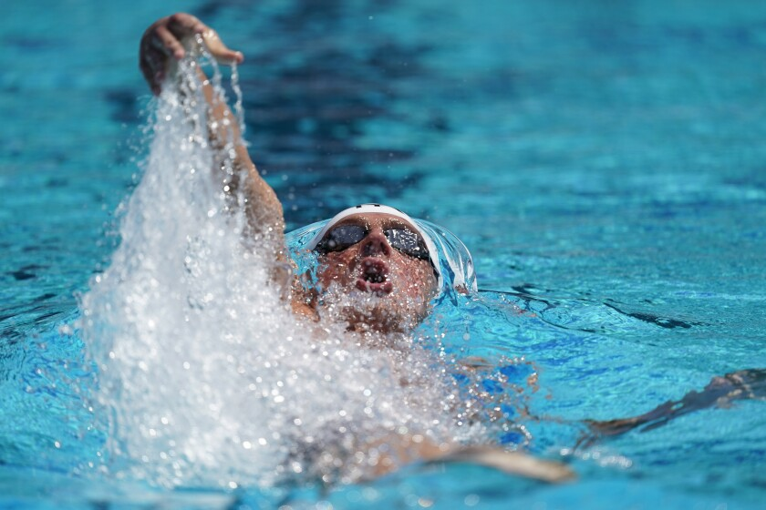 FILE In this July 31, 2019, file photo, Ryan Lochte competes in the men's 200-meter individual medley time trial at the U.S. national swimming championships in Stanford, Calif. Lochte was ticked off about his performances in the pool at the U.S. Open, the first major meet on American soil since the coronavirus pandemic shut down sports in mid-March. Lochte finished third in the 200-meter individual medley with a time 2 minutes, 1.05 seconds Friday — well behind winner Chase Kalisz in 1:59.72. (AP Photo/David J. Phillip, File)