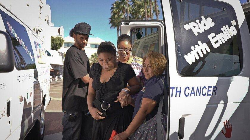David Johnson, Yuntaisha, La Toya Johnson and ENF driver Gloria Chavez use the Ride With Emilio van for a medical visit.