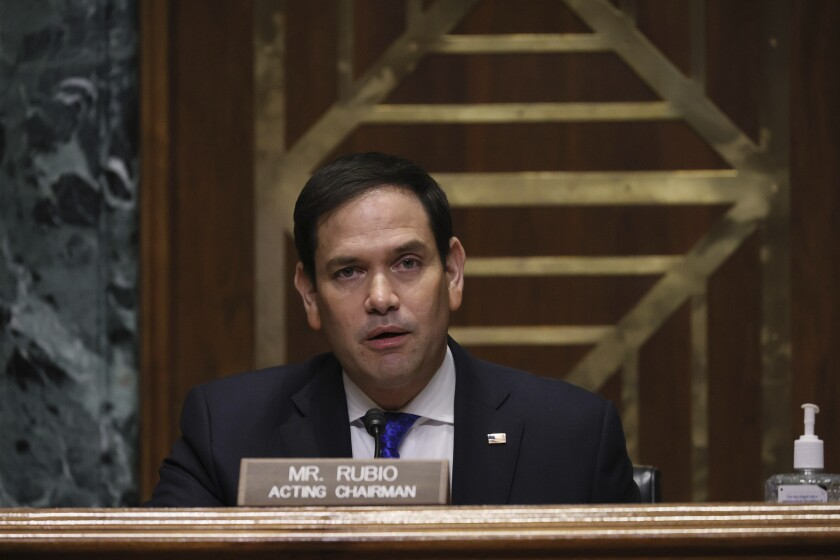 Sen. Marco Rubio, R-Fla., speaks during a confirmation hearing for President-elect Joe Biden's pick for national intelligence director Avril Haines before the Senate intelligence committee on Tuesday, Jan. 19, 2021, in Washington. (Joe Raedle/Pool via AP)