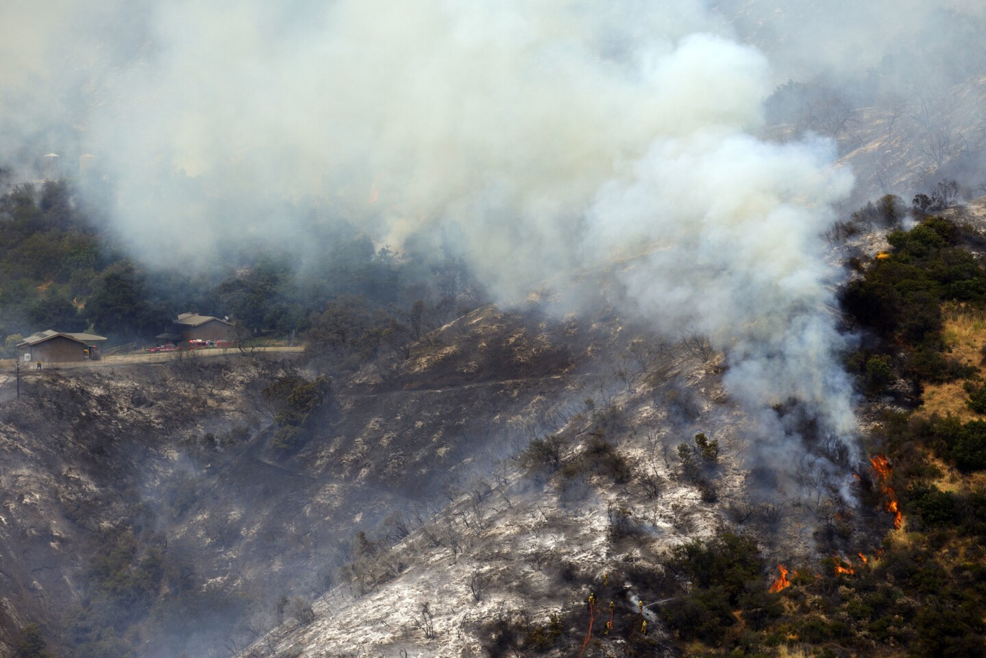 Firefighters battle a brush fire from the ground in Mandeville Canyon in the Brentwood neighborhood of Los Angeles.