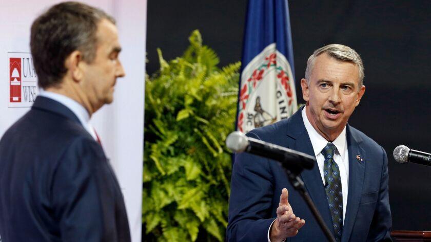 Republican gubernatorial candidate Ed Gillespie, right, debates Democratic rival Lt. Gov. Ralph Northam.