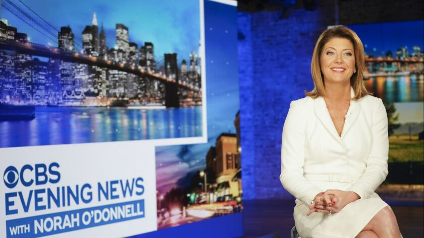 "Norah O'Donnell on the set of the ""CBS Evening News"" at the CBS Broadcast Center in New York."