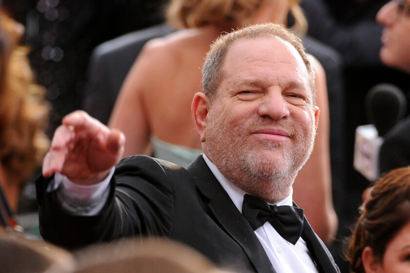 Harvey Weinstein arrives at the Oscars at the Dolby Theatre in Los Angeles.