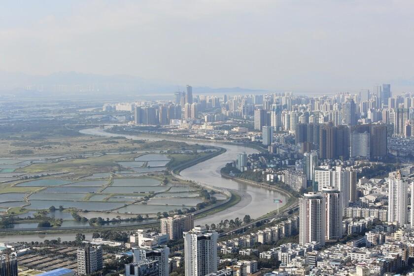 Farmland abuts Shenzhen, China