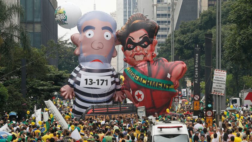 A large inflatable doll of former President Luiz Inacio Lula da Silva prompted many knock-offs, including a giant balloon of his successor, Dilma Rousseff.