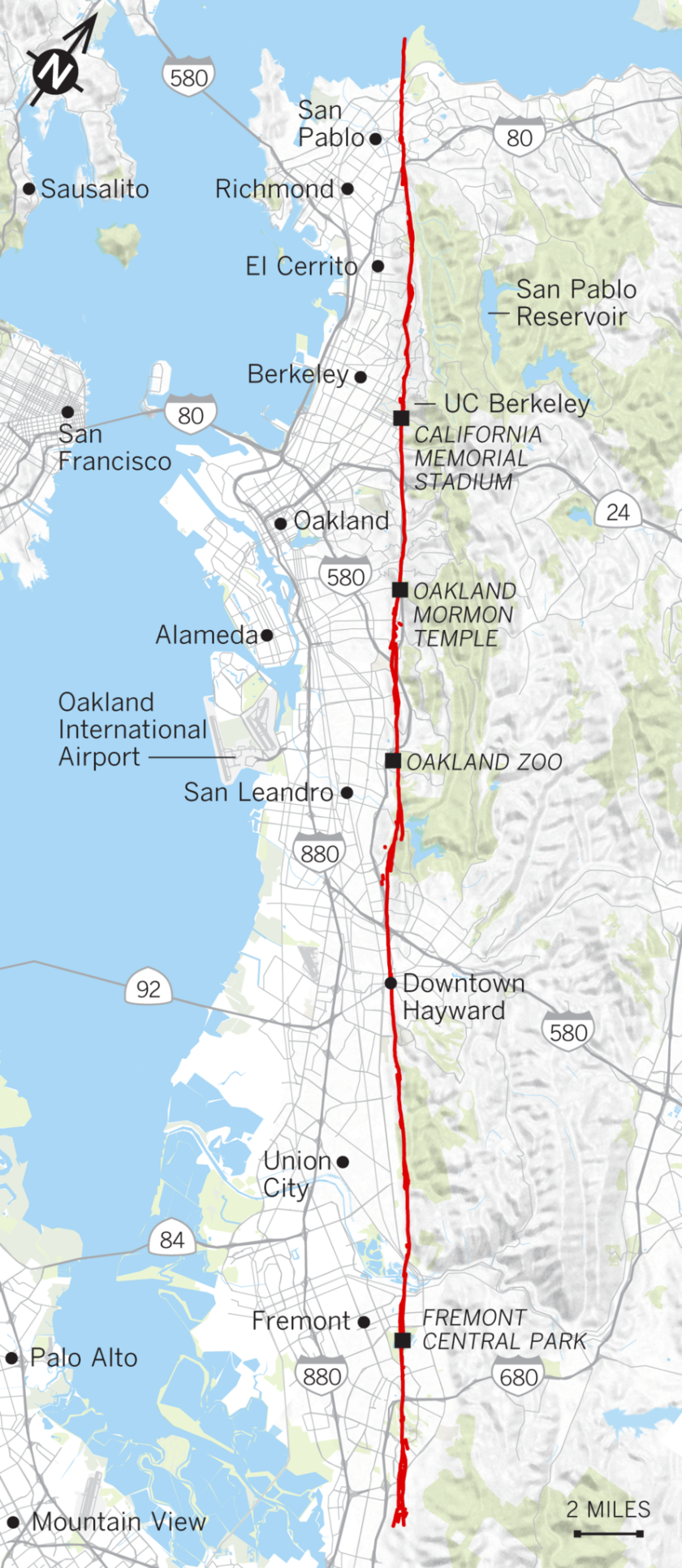 Map of Hayward fault