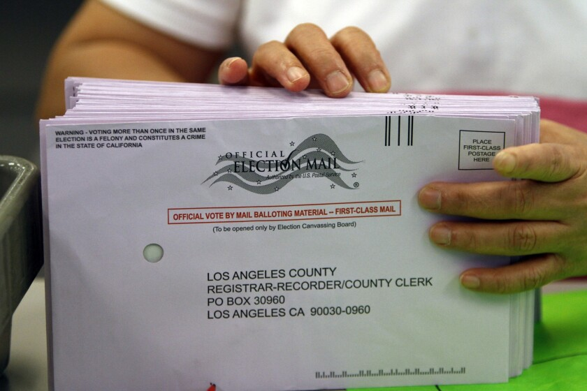 A stack of Los Angeles County mail-in ballots for the November 2010 election.