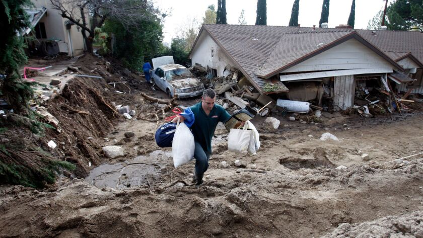 A debris flow hit La Canada Flintridge in 2010. Mud and debris came rushing through an entire house on Manistee Drive.
