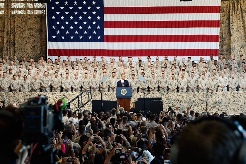 President Obama addressed troops at the Camp Pendleton Marine Corps base Wednesday, shortly after the White House announced he was scrapping a planned summit with Russian President Vladimir Putin. Relations between the former superpowers have been in a downward spiral since Putin's return to the Russian presidency last year.