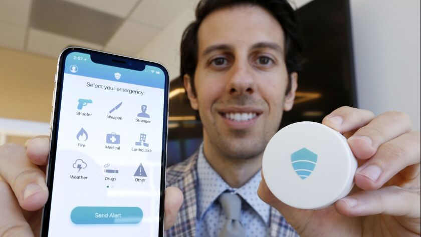 Titan HST Chief Executive Vic A. Merjanian created an app to help with emergency communications. He is partnering with Exoio founder Shawn Dougherty to make and market new sensor hardware, right, to help pinpoint app users' locations during emergencies.