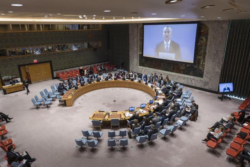 Photo provided by the United Nations showing the international body's envoy for the Middle East, Nickolay Mladenov (on screen) addressing the Security Council by teleconference on Nov. 19, 2018, to urge the Palestinians and Israel to ensure that calm prevails in the region. EFE-EPA/Rick Bajornas/UN/Editorial Use Only/No Sales