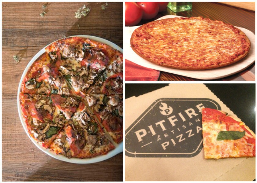Gluten-free pizzas from California Pizza Kitchen, far left, Fresh Brothers, top left, and Pitfire.